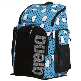 Mochila Arena Team Backpack Allover 45L pingüinos azul