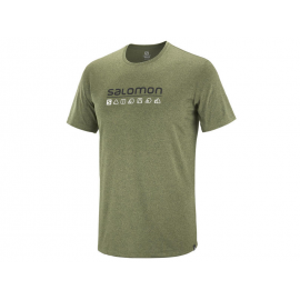 Camiseta trail running Salomon Agile Graphic verde hombre