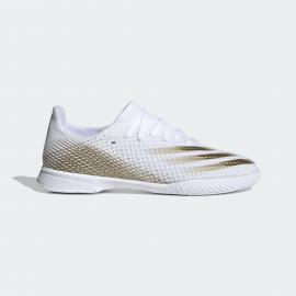 Zapatillas fútbol adidas X Ghosted.3 IN blanco/dorado junior