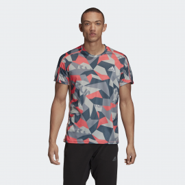 Camiseta training adidas Own The Run gris/coral/azul hombre