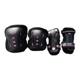 Set protecciones KRF patines New negro-rosa junior