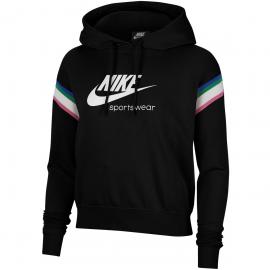 Sudadera Nike Sportswear Heritage Hoodie negro blanco mujer