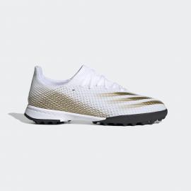 Zapatillas fútbol adidas X Ghosted .3 TF blanco/oro junior