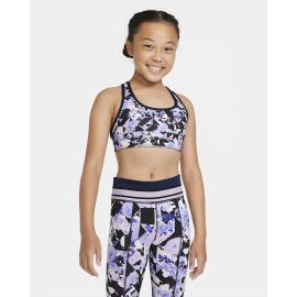 Sujetador deportivo Nike Swoosh negro estampado niña