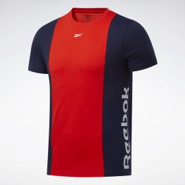 Camiseta Reebok Essentials Linera logo Blocked rojo azul