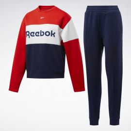 Chándal Reebok Linear Logo Crew azul/rojo  mujer