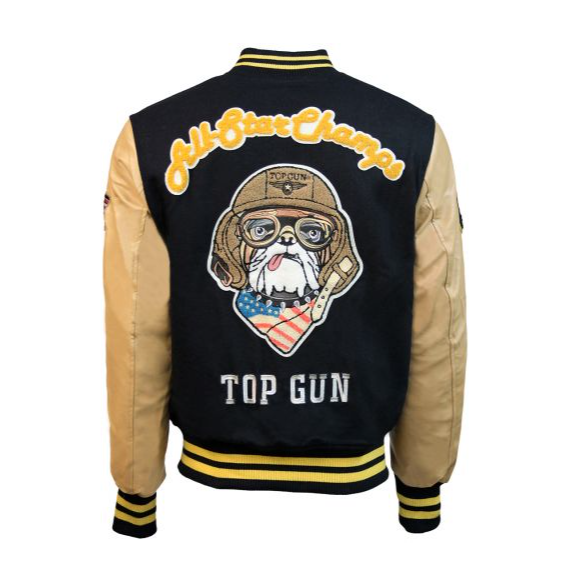 Chaqueta Universitaria Top Gun Champs Azul Beige hombre