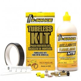 Kit tubeless X-Sauce Mtb valvula gorda + cinta de 25mm negra