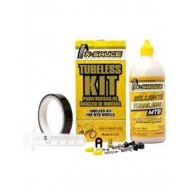 Kit tubeless X-Sauce Mtb valvula fina + cinta de 20mm negra