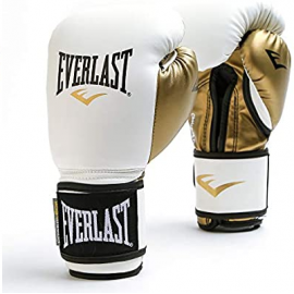 Guantes boxeo Everlast Power Lock blanco/oro