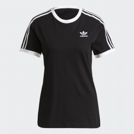 Camiseta adidas 3 Stripes negro blanco mujer
