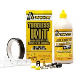 Kit tubeless X-Sauce Mtb valvula fina + cinta de 23mm negra