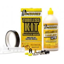 Kit tubeless X-Sauce Mtb valvula fina + cinta de 25mm negra