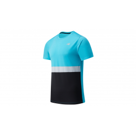 Camiseta New Balance Striped Accelerate azul negro hombre
