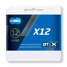 Cadena Kmc X12 color plata 126 eslabones 12 velocidades