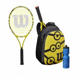 """Kit de tenis Wilson Minions raqueta 25"""" mochila y botella"""