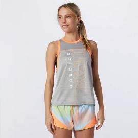 Camiseta running New Balance Printed Fast Flight gris mujer