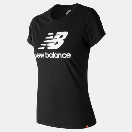 Camiseta New Balance Essential Stacked Logo negro mujer