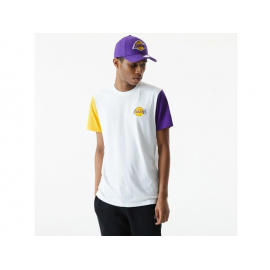 Camiseta New Era NBA Colorblock Lakers blanco amarillo morad