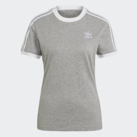 Camiseta adidas 3 Stripes gris blanco mujer