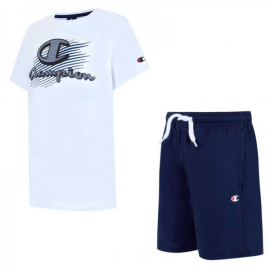 Conjunto Champion Camiseta+ Pantalón 305215 blanco/azul jr