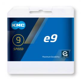 Cadena Kmc E9 plata bici electrica 9 velocidades 136 eslabo