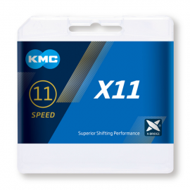 Cadena Kmc X11 plata- gris 118 eslabones 11 velocidades