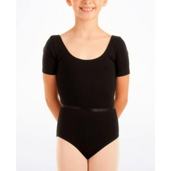 Maillot ballet Elastic manga corta negro niña