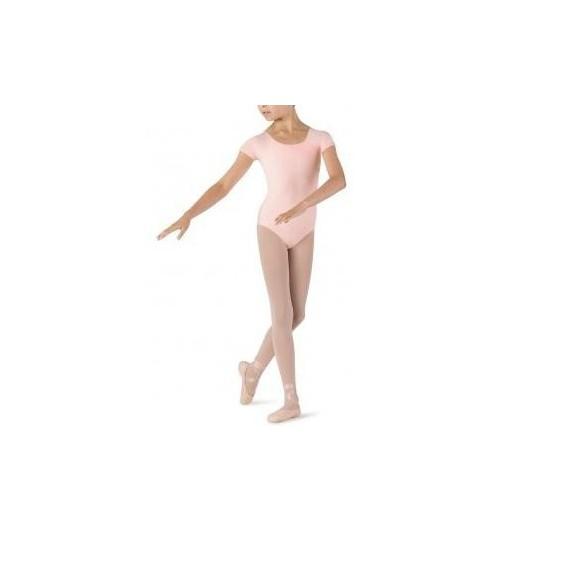 Maillot ballet Elastic manga corta rosa niña
