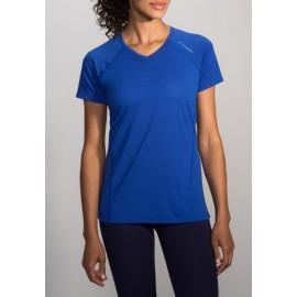 Camiseta manga corta running Brooks Distance mujer azul
