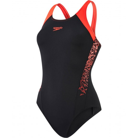 Bañador Speedo Boom Splice Muscleback negro/rojo mujer