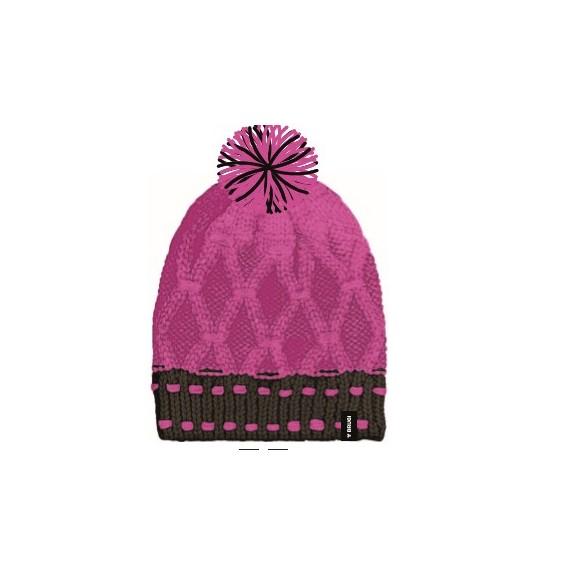 Gorro de lana Brugi Z42X  rosa negro  mujer