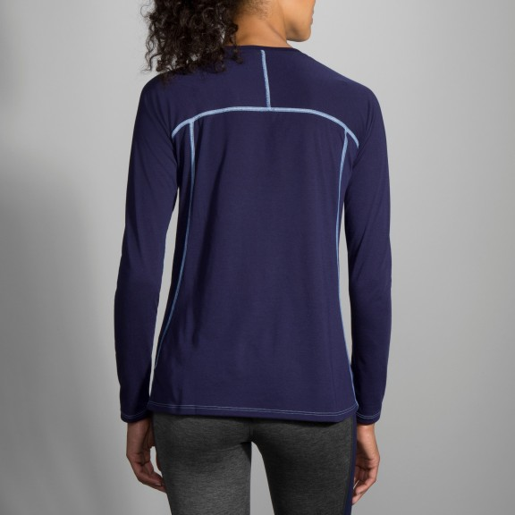 Camiseta running Brooks Distance azul mujer