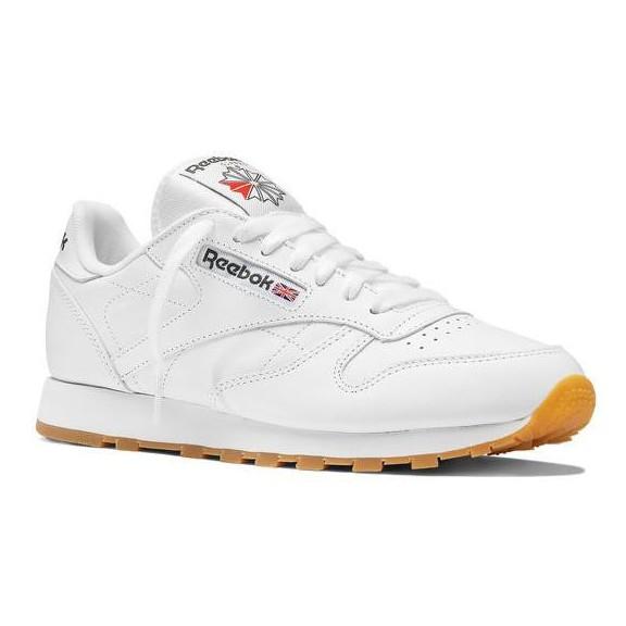a55470865980e ... 394d9 ec187 Zapatillas Reebok Cl Leather blanco suela marron hombre  first rate ...