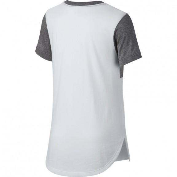 Camiseta Nike Sportswear Blanco Gris Niña - Deportes Moya ea5e828954b