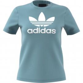 Camiseta Adidas Trefoil Tee azul blanco mujer