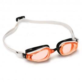 Gafas Natación K180 blanco/negro/naranja hombre