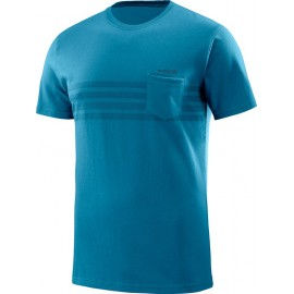 Camiseta Hombre Salomon M/C Color Block azul