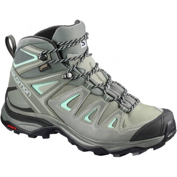 8ce5d2d412ba6 Botas trekking Salomon X Ultra 3 Mid W Gtx gris verde mujer ...