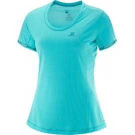 Camiseta Salomon M/C Agile azul verde mujer