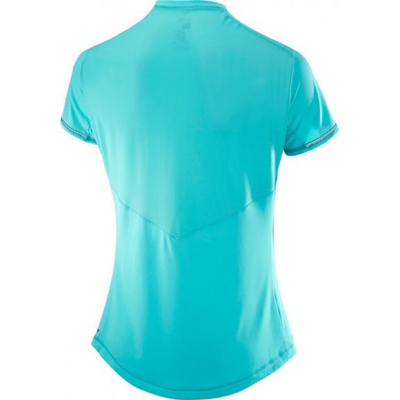 Camiseta Salomon M C Agile Azul Verde Mujer - Deportes Moya dea5b991822