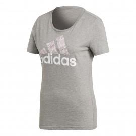 Camiseta Adidas Foil Text Bos gris mujer