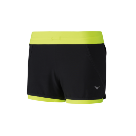 Pantalón corto running Mizuno Mujin 4.5 2 en 1 negro mujer