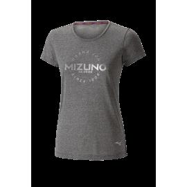Camiseta running Mizuno Heritage Hinomaru gris mujer