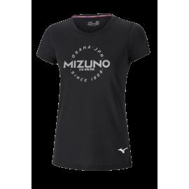 Camiseta running Mizuno Heritage Hinomaru negro mujer