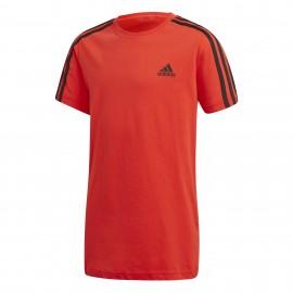 Camiseta adidas Essentials 3 Stripes Tee rojo junior