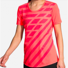 Camiseta Brooks Distance Sleeve rosa  mujer