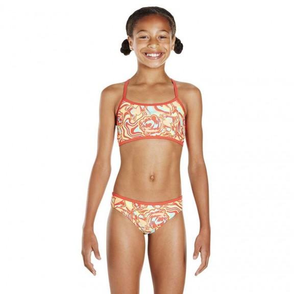 1568d68b3108 Bikini Speedo Colourmelt Allover Crop naranja niña