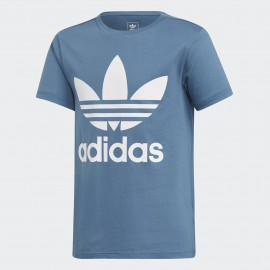 Camiseta adidas J Trefoil tee azul/blanco junior