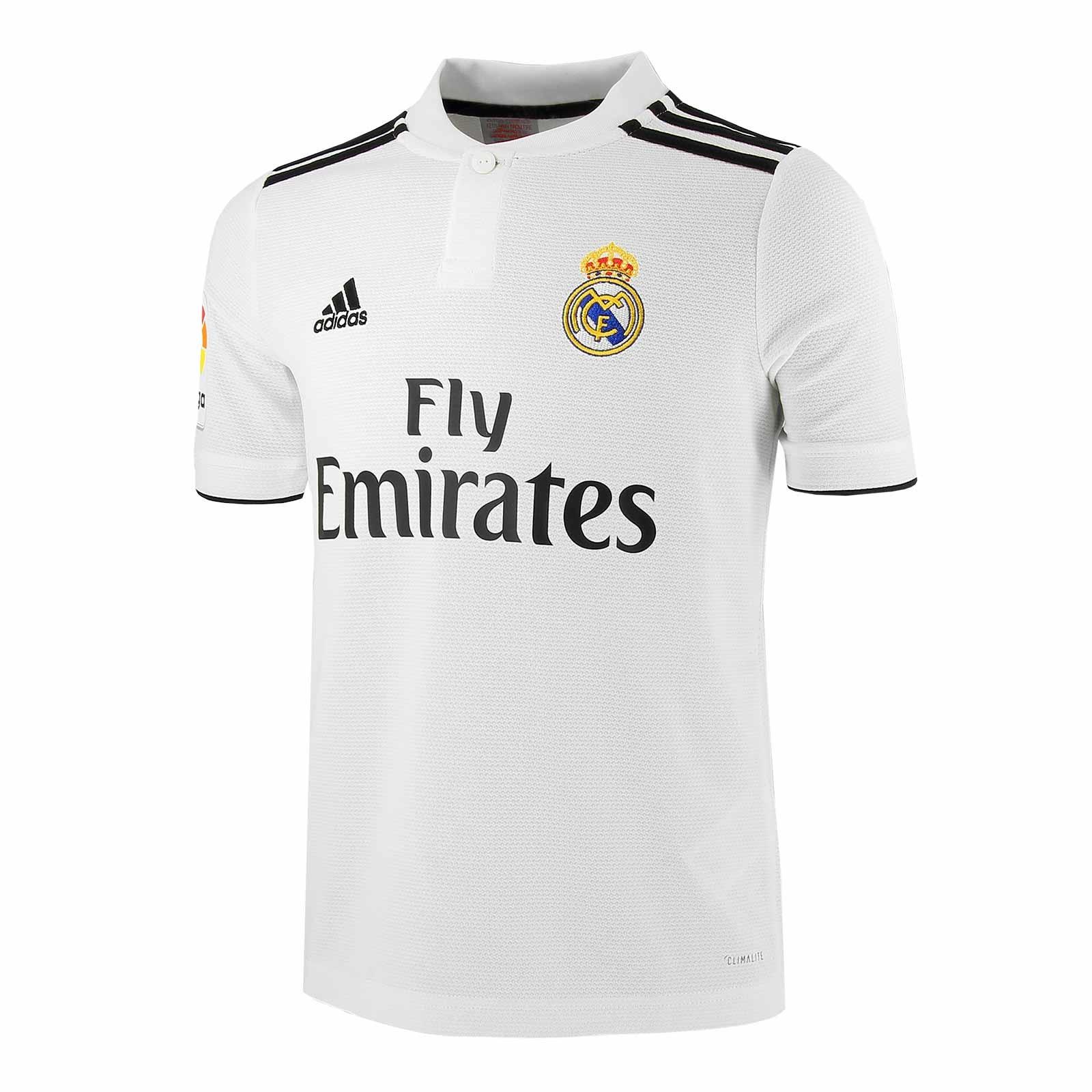 varios diseños fábrica nueva alta calidad Camiseta fútbol adidas Real Madrid 2018/19 1ª blanca junior ...